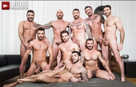 Rocco Steele's Bareback Sex Party Grows To A Nine-Man Orgy