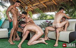 A Five-Man Orgy - Damien Crosse, Damon Heart, Devin Franco, Drae Axtell, James Cas