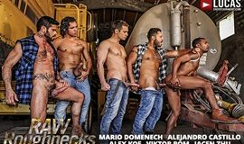 "Jacen Zhu bottoms for Alejandro Castillo, Alex Kof, Mario Domenech and Viktor Rom in ""Raw Roughnecks"""
