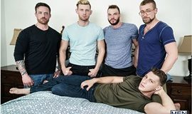 Cliff Jensen, Jordan Levine, Paul Canon, Jay Austin and Jacob Peterson's hot orgy in Gaymates - Part 3