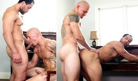 Sneaking Around – Trevor Laster & David Rose flip fuck bareback