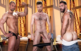 Raw Construction – Kurtis Wolfe, Ricky Larkin & Jaxx Thanatos' bareback threeway