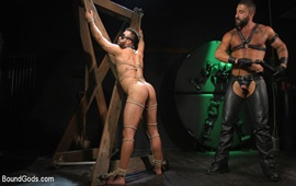 BoundGods – Franco gets FUCKED! New slave flogged and fucked by Sharok – Sharok & Franco Nunez