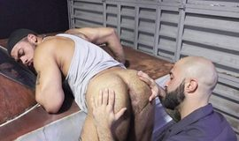 Rocco Steele's Dad's Bareback Collision Shop – Scene 1: Atlas Grant & Tim Drake