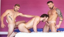 "Tyler Berg, Ricky Blue and Max Adonis' hot threeway in ""Refuge, Part 3"""