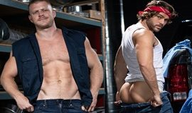 Logan Stevens and Max Adonis fuck each other bareback in Pipe Fitters